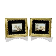Miniature Italian Venetian Landscape Paintings Pair Gilded Frames Signed Calzolari