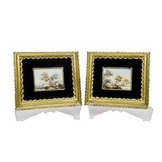 Miniature Italian Venetian Landscape Paintings Pair Gilded Frames Signed Calzolari