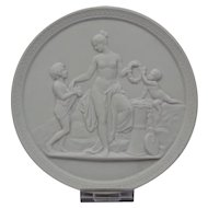 Bisque Parian Porcelain Plaque Royal Copenhagen 20th Century Representing Childhood-Spring Ornate Border