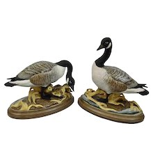 Boehm Porcelain Canadian Geese Figures With Goslings Original Bases Hand Painted