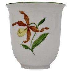 Small Porcelain Vase Cup Lady Slipper Floral Motif Austria