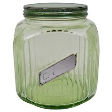 Green Depression Glass Canister Cookie Jar With Metal Lid Original Paper Label
