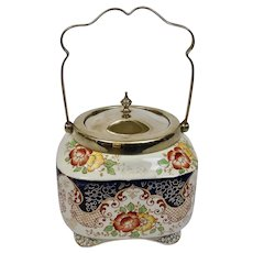 Biscuit Barrel Jar Gaudy Welsh Style Imperial Derby England