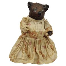 Paper Mache Bear Figure Doll Hand Crafted With Dress American Folk Art c.1900's