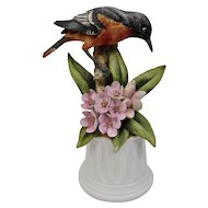 Bisque Porcelain Bird Figurine Baltimore Oriole Floral Motif Andrea By Saydek