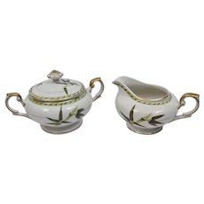 Bamboo Pattern Covered Sugar Bowl And Creamer Set Occupied Japan Aladdin Fine China
