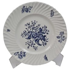 Royal Worcester Blue Sprays Luncheon Plate Floral Motif Bone China England