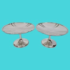 Arts And Crafts F Novick Chicago Hand Hammered Sterling Pair Compotes Tazzas