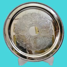 Round Silver Plated Serving Tray Ornate Engraved Scrolling Pattern Gadroon Border