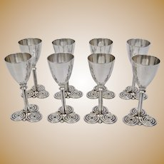 Arts And Crafts Modernist Cordial Cups Set Of Eight Sterling Silver c.1950