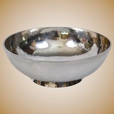 Arts And Crafts Kalo Shop Chicago Hand Forged Hammered Sterling Footed Bowl Large