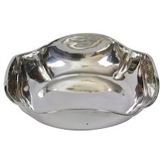 Hand Forged Mexican Sterling Silver Modernist Bowl Signed Juvento Lopez Reyes