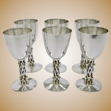William Spratling Mexico Arts And Crafts Sterling Silver Goblets Set Of Six