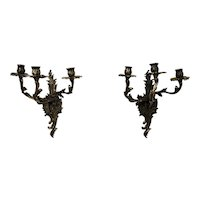 Bronze Sconces Baroque Rococo Louis XV French Style Acanthus Leaf Forms 3 Candle Burning Pair