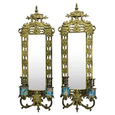 Longwy Pottery Bronze Wall Sconces Beveled Mirrored Back Dolphin Eastlake Style Two Candle c.1880 Pair