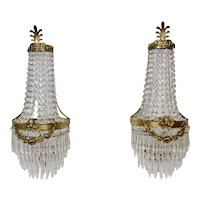 Crystal And Brass Ornate French Style Wall Sconces Electrified 24 Inches Tall