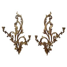 Rococo French Style Syroco Wood Gilded Large Wall Sconces Pair 3 light Candle Burning
