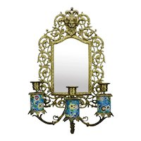 Longwy Pottery Bronze Wall Sconce Beveled Mirrored Back Gothic Style Three Candle c.1885