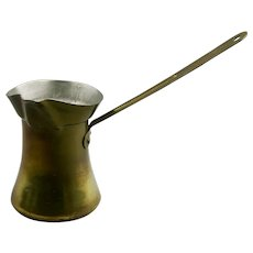 Brass Coffee Brewing Pot Turkish Style Tin Lined Metal Handle