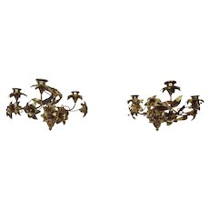 Gilt Bronze Lilly Wall Sconces Floral Motif French Three Light Candle Burning Pair c.1890