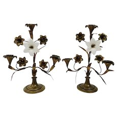 Gilt Bronze Lilly Candelabras Milk Glass Flowers French Three Light Candle Burning Pair c.1890