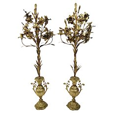 Gilt Bronze Lilly Candelabras Flowers Urn Motif French Four Light Candle Burning Pair c.1890