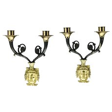 Neoclassical Pair Wall Sconces Candle Burning Brass And Black Finish French Style Motif