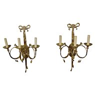 Ornate French Trumpet Style Brass Wall Sconces Three Light Electrified 20 Inches Tall