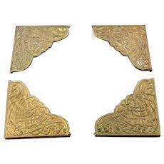 Gilded Bronze Desk Blotter Corners Celtic Phoenix Motif Marshall Field & Co Arts And Crafts Era