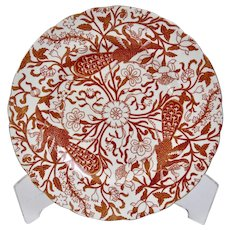 Derby Red Peacock Pattern Dessert Plate Gilded Details Royal Crown Derby England