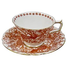Derby Red Peacock Pattern Cup And Saucer Set Gilded Details Royal Crown Derby England
