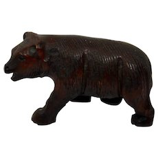 Carved Wood Bear Black Forest German Tyrolean Fine Details