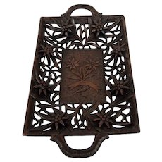 Carved Wood Tray Edelweiss Reticulated Open Work Black Forest German Tyrolean Fine Details