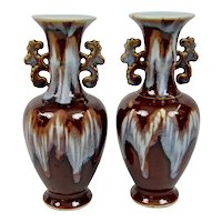 Chinese Drip Glaze Vases Reticulated Handles Brown With Blue Drip