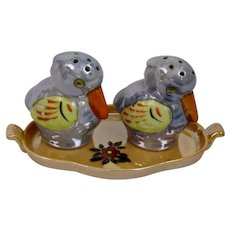 Japanese Porcelain Bird Salt And Pepper Shakers On Tray Rich Lusterware Glaze