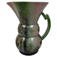 SylvaC Pottery Art Deco Pitcher Pink Green Mottled Drip Glazes England