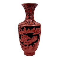 Chinese Lacquerware Vase Finely Hand Carved Red And Black Details
