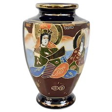 Japanese Satsuma Style Vase Form No Bottom Suitable For Lamp Wiring