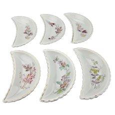 Half Moon Crescent Bone Dishes Side Plates Floral Transfer Ware Motif Set Of Six