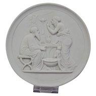 Bisque Parian Porcelain Plaque Royal Copenhagen 20th Century Representing Old Age-Winter