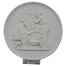 Bisque Parian Porcelain Plaque Royal Copenhagen 20th Century Representing Old Age-Winter