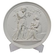 Large Bisque Parian Porcelain Plaque Bing and Grondahl 19th Century Representing Manhood-Autumn
