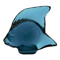 Lalique Glass Crystal Fish Teal Blue Signed France Original Box