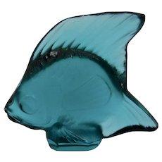 Lalique Glass Crystal Fish Teal Blue Signed France Original Box