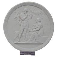 Bisque Parian Porcelain Plaque Royal Copenhagen 20th Century Representing Manhood-Autumn Ornate Border
