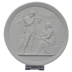 Bisque Parian Porcelain Plaque Royal Copenhagen 20th Century Representing Manhood-Autumn Ornate Border