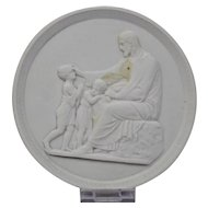 Bisque Parian Porcelain Plaque Royal Copenhagen 19th Century Relief Of Seated Man And Children
