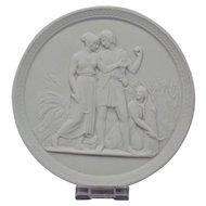 Bisque Parian Porcelain Plaque Royal Copenhagen 20th Century Representing Youth-Summer Ornate Border