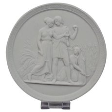 Bisque Parian Porcelain Plaque Royal Copenhagen 20th Century Representing Youth-Summer Ornate Border