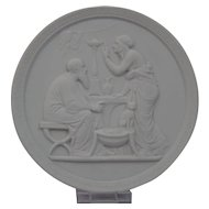Bisque Parian Porcelain Plaque Royal Copenhagen 20th Century Representing Old Age-Winter Ornate Border